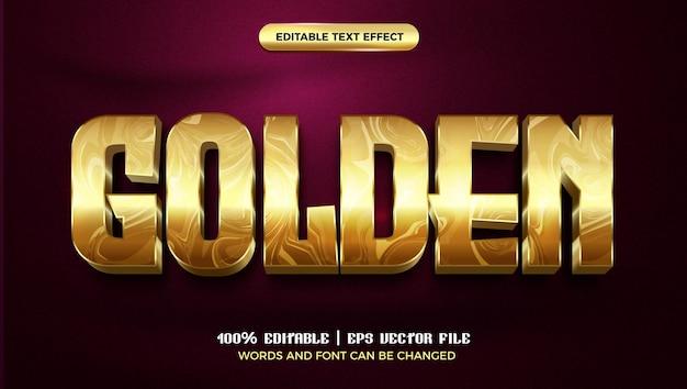 Modello di stile effetto testo modificabile 3d di lusso in marmo dorato