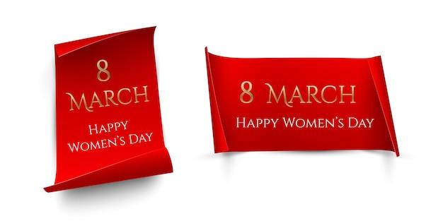 Testo di marzo dorato su carte rosse verticali e orizzontali con bordi curvi isolati su sfondo bianco, modelli di design per la giornata internazionale della donna.