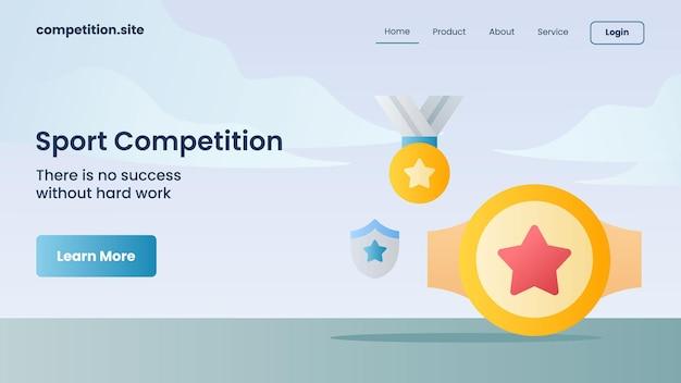 Medaglia d'oro, cintura del campionato per la competizione sportiva con slogan non c'è successo senza un duro lavoro per l'illustrazione vettoriale della homepage di atterraggio del modello di sito web