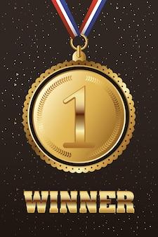 Medaglia d'oro con l'icona del primo posto