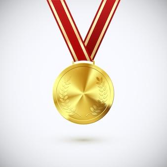 Medaglia d'oro con alloro appeso al nastro rosso