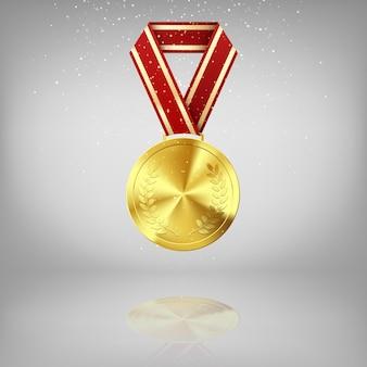 Medaglia d'oro con alloro e nastro rosso