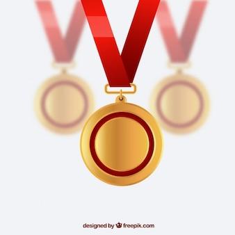 Medaglie d'oro Vettore Premium