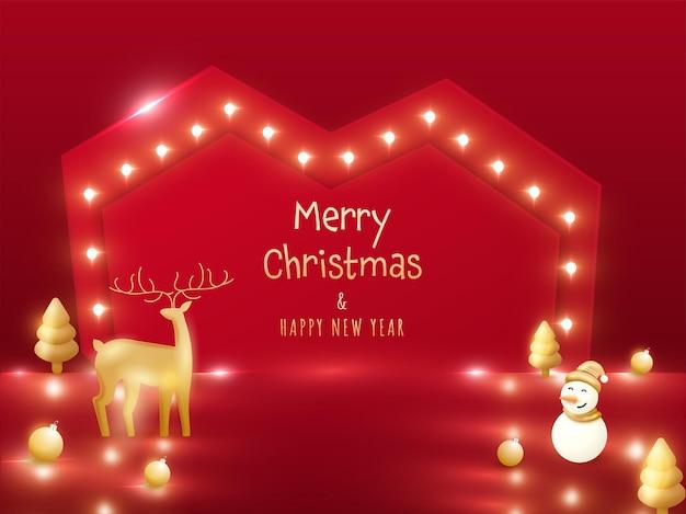 Testo dorato di buon natale e felice anno nuovo con renne 3d, pupazzo di neve, albero di natale, palline su sfondo rosso cornice cuore tendone.