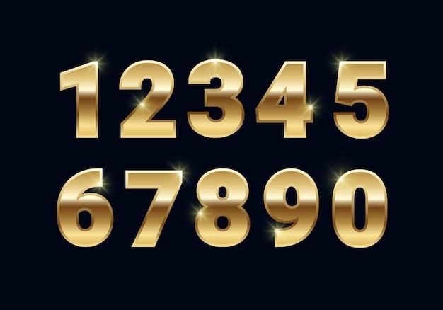 Numeri lucidi metallici dorati impostati, segni di carattere vettoriale oro isolati su sfondo nero.