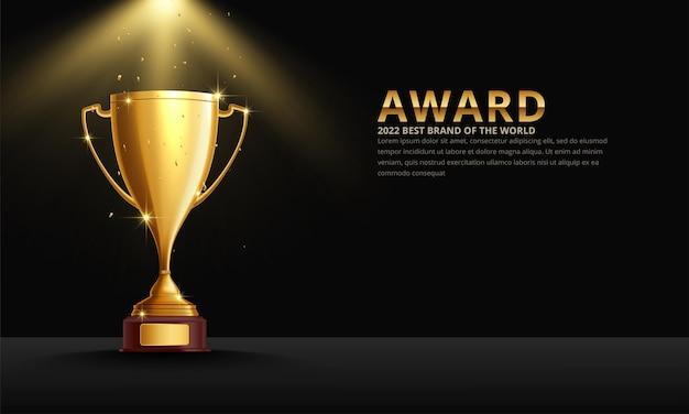 Premio vincitore del primo posto della coppa trofeo metallico dorato