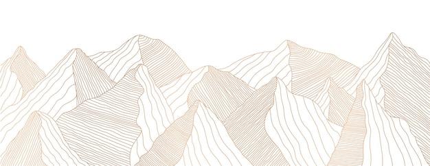 Paesaggio montano dorato di linee ondulate