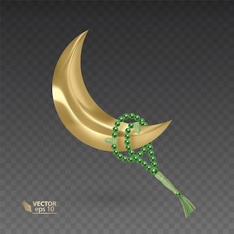 Mese d'oro, musulmano, circondato da un rosario, perle di preghiera realistiche appese sulla luna d'oro, illustrazione su sfondo scuro