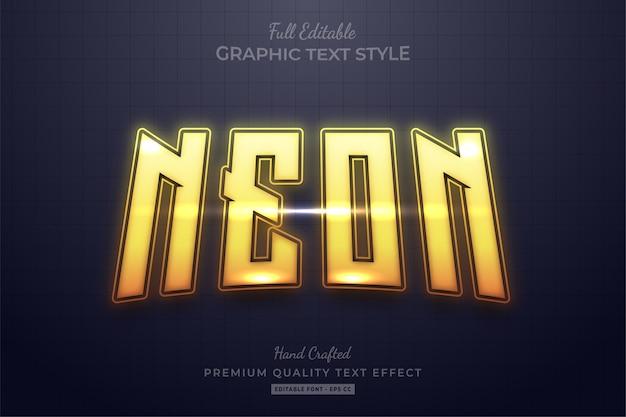 Effetto stile di testo premium modificabile al neon dorato