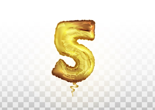 La mongolfiera numero cinque d'oro per la doccia per bambini celebra la festa della decorazione. palloncini dorati decorazione festa. segno di anniversario per felice vacanza, celebrazione, compleanno, carnevale, anno nuovo.