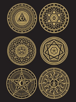 Simboli occulti, mistici, spirituali, esoterici dorati