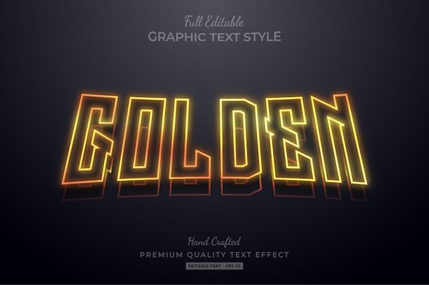 Effetto di stile di testo premium modificabile contorno dorato