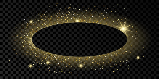 Cornice ovale dorata con glitter, scintillii e bagliori su sfondo trasparente scuro. sfondo di lusso vuoto. illustrazione vettoriale.