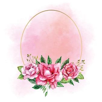 Cornice ovale dorata con fiore di rosa per biglietto d'invito con logo di nozze ecc