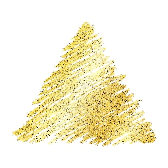 Triangolo scintillante disegnato a mano di vernice dorata su sfondo bianco. sfondo con scintillii dorati ed effetto glitter. spazio vuoto per il tuo testo. illustrazione vettoriale