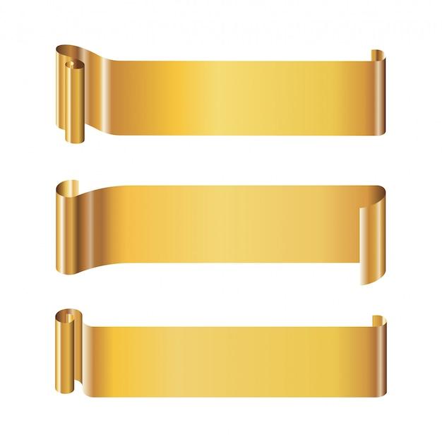 Insieme di modelli di banner lungo rotolo di carta dorata