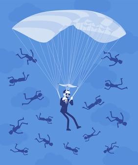 Beneficio dorato del paracadute per l'uomo d'affari. un dirigente di alto livello in congedo riceve un grosso pagamento sicuro dall'azienda, i dipendenti che cadono vengono licenziati. illustrazione vettoriale, personaggi senza volto