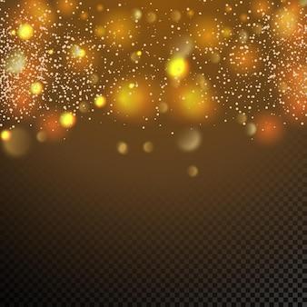 Particelle dorate cerchi gialli incandescenti di bokeh astratto sfondo di lusso in oro