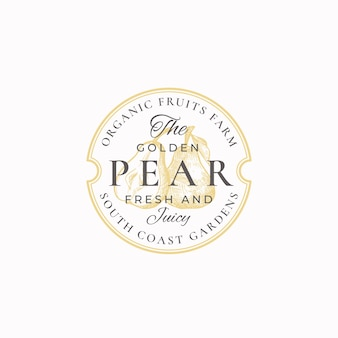 Distintivo di golden pear farm o modello di logo.