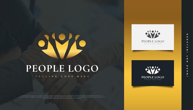 Disegno di marchio della gente d'oro. persone, comunità, rete, hub creativo, gruppo, logo o icona di connessione sociale per l'identità aziendale