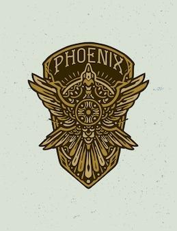 La t-shirt dal design distintivo della fenice dorata