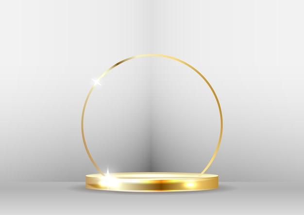 Podio d'oro con riflettori e bokeh su sfondo bianco.