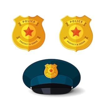 Distintivo dorato della polizia o poliziotto speciale dell'ufficiale di sicurezza e emblema metallico dello sceriffo su un berretto realistico