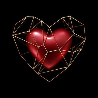 Cuore poligonale dorato del wireframe con cuore rosso realistico dentro - simbolo di amore di san valentino.