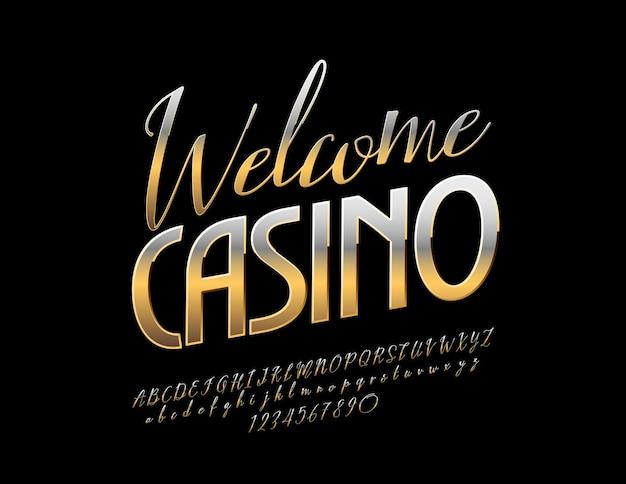 Banner promozionale dorato welcome casino. carattere di lusso in metallo ricco. lettere, numeri e simboli di alfabeto lucido