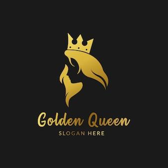 Logo della regina d'oro, logo del salone di bellezza di lusso, logo dei capelli lunghi