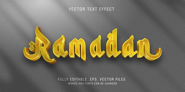 Effetto stile testo ramadan dorato