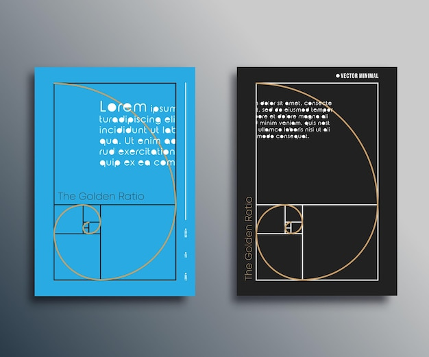 Rapporto aureo: design a spirale di fibonacci per volantini, copertine di brochure, biglietti, tipografia o altri prodotti di stampa. illustrazione vettoriale.