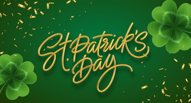 Lettering realistico dorato happy st. patricks day con foglie di trifoglio realistiche