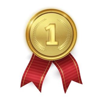 Medaglia d'oro realistica. premio dei campioni. Vettore Premium