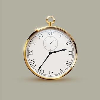 Orologio vintage realistico dorato isolato.