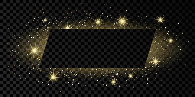 Cornice rettangolare dorata con glitter, scintillii e bagliori su sfondo trasparente scuro. sfondo di lusso vuoto. illustrazione vettoriale.