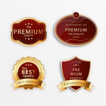 Distintivi rossi dorati con nastri di qualità di lusso