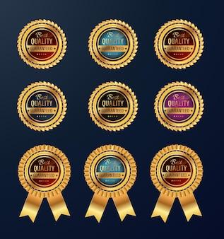 Collezione di distintivi di vendita retrò d'oro. set medaglia d'oro di qualità