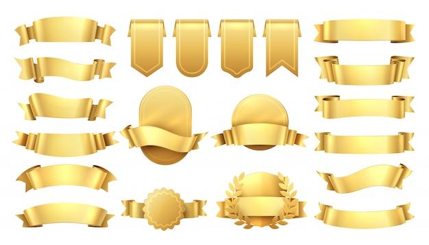 Nastri d'oro. etichette antiche lucide, elementi banner onda, decorazione retrò promozione, vendita prezzo giallo.