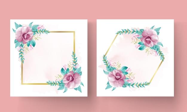 Cornice floreale rosa dorata vettore gratuito