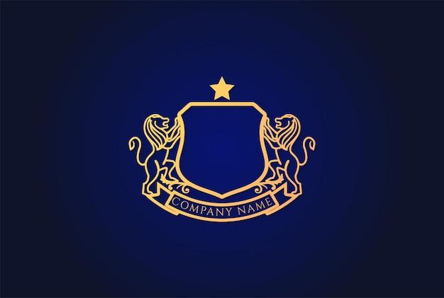 Golden royal classic blank lion shield frame badge emblem logo design vector
