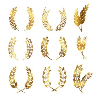 Set di corone di orecchie di grano di segale dorato, logo ornamento