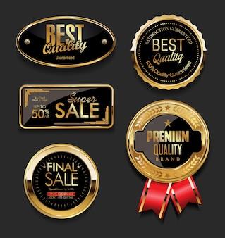 Etichette di vendita d'oro collezione di design vintage retrò