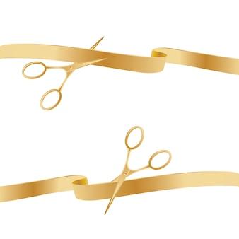 Nastri di cerimonia di taglio delle forbici dorate.