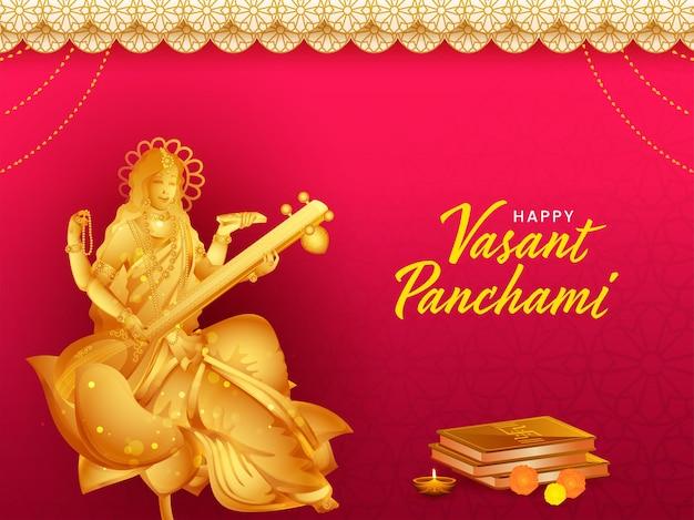 Scultura dorata della dea saraswati con libri sacri per happy vasant panchami.