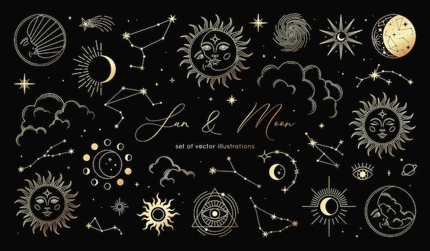 Insieme dorato di sole, luna, stelle, nuvole, costellazioni e simboli esoterici. alchimia elementi magici mistici
