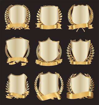 Corona di alloro scudi d'oro con raccolta di nastro dorato