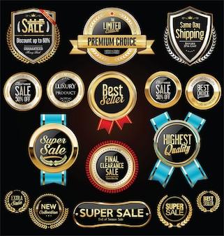 Scudi d'oro collezione di corone di alloro e distintivi Vettore Premium