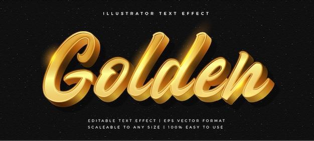 Effetto carattere stile testo cromato lucido dorato
