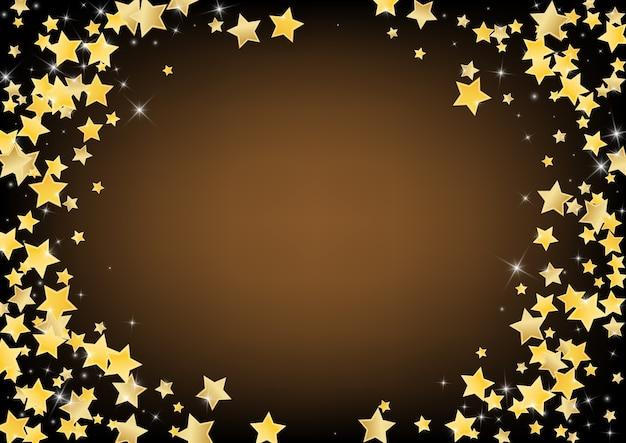 Stelle dorate lucide sfondo marrone. modello magic sparkle. shine border.